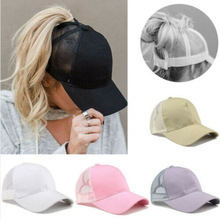 Caps Snapback Baseball-Cap Ponytail Mesh Hip-Hop-Hat Breathable Sport Women Summer Sun-Hat