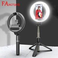 Palo de selfi con luz de anillo, vara 4 en 1 inalámbrica con bluetooth, minitrípode de mano, extensible, con control remoto, novedad de 2020