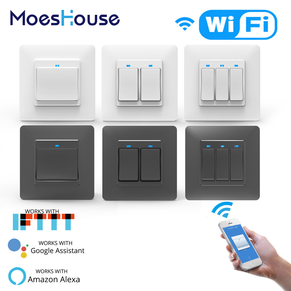 WiFi DE Smart Push Button Switch 1/2/3Gang Removable&Detachable Smart Life Tuya App Remote Control Work With Alexa Google Home