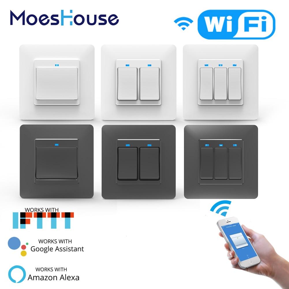 WiFi DE Smart Push Button Switch 1/2/3Gang Removable&Detachable Smart Life Tuya App Remote Control Work With Alexa Google Home