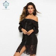 цена на CURLY 2019 female Black lace off-the-shoulder long-sleeve openwork ruffle sexy dress fashion Boat-neck slim Slit women dresses