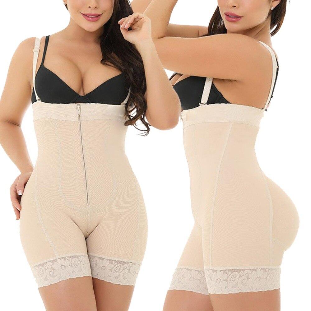 2019 Ladies Sexy Black Zipper Front Body Shapers 6XL Plus Size Tummy Control Underbust Bodysuit Underwear Slimming Body Shaper (9)