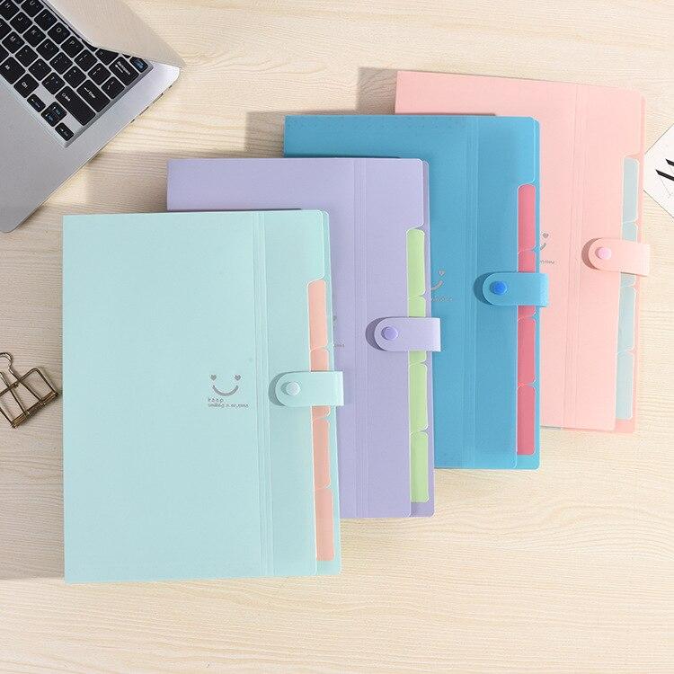 A4 Candy Color Folder Creative Multi-layer Folder File Bag Plastic Organ Bag File Storage Bag School Office Supplies