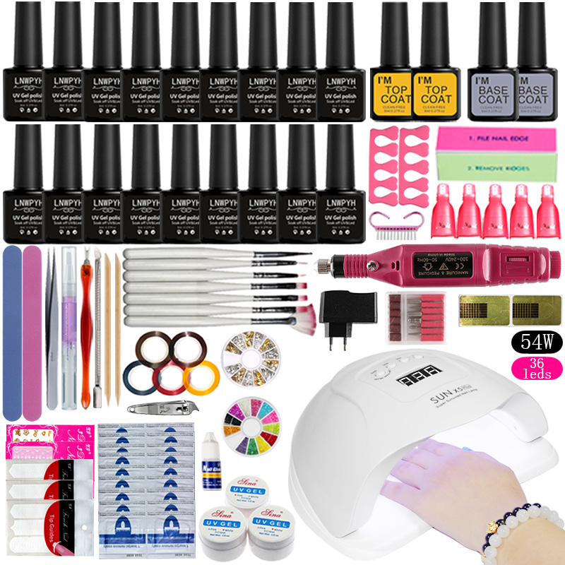 Nail Set 54W UV LED Lamp For Manicure 18pcs Gel Nail Polish Set Kit Soak Off Gel Varnish For Nail Art Set Dryer Machine Tools