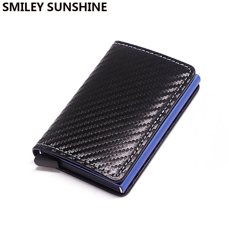 DIENQI RFID Carbon Fiber Credit Card Holder Men Wallets Black Short Purse Male Trifold Leather Slim Thin Mini Wallet Smart Walet
