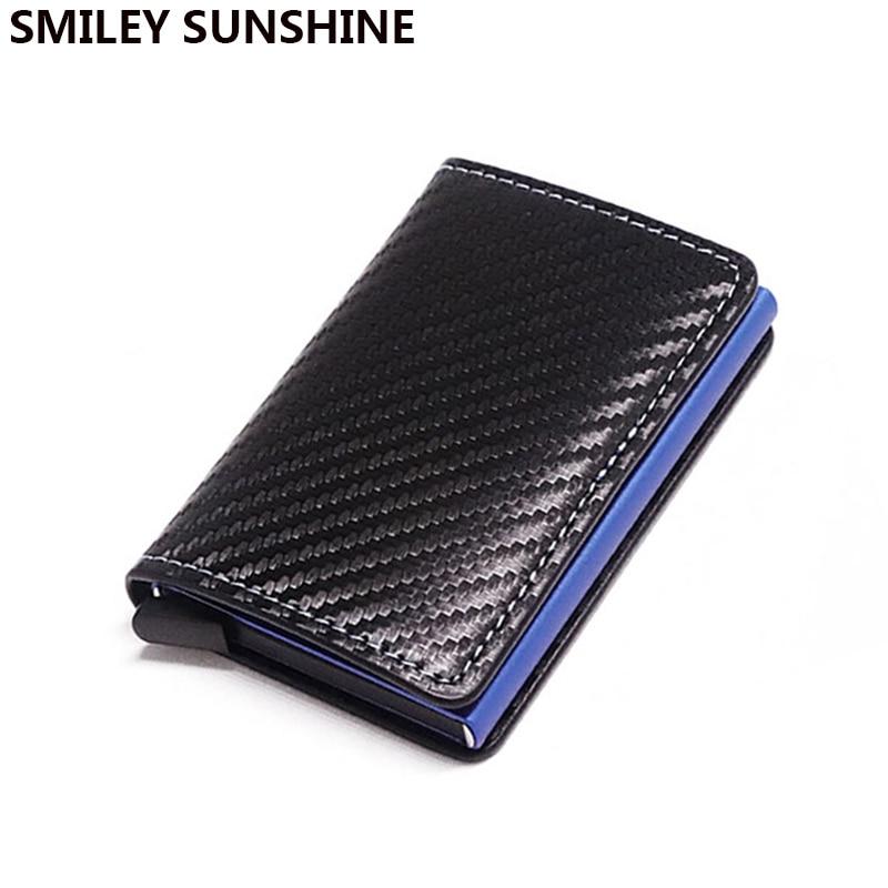 DIENQI RFID Carbon Fiber Credit Card Holder Men Wallets Black Short Purse Male Trifold Leather Slim Thin Mini Wallet Smart Walet