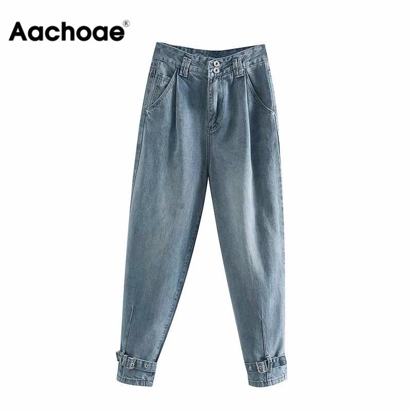 Women Denim Jeans Casual Female Tie-legs High Waist Long Pants Loose Pockets Harem Trousers Button Streetwear Jeans
