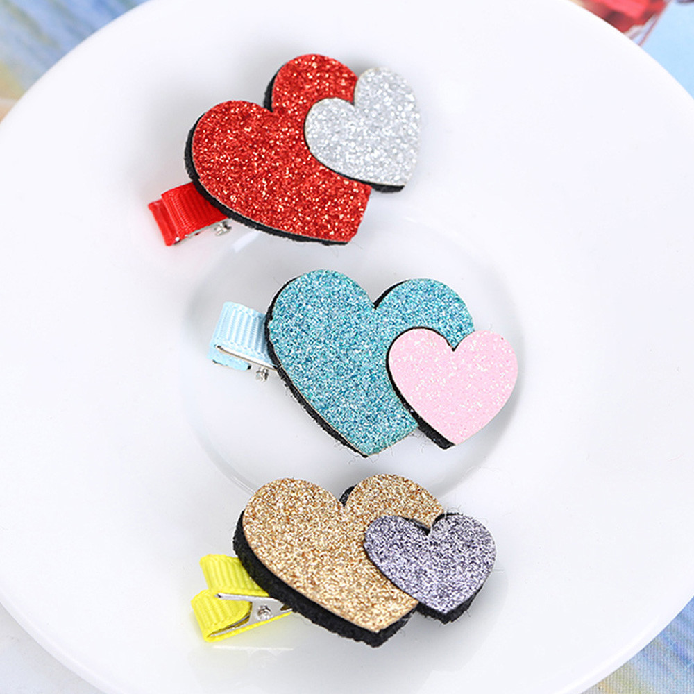 2Pcs Baby Girls Toddler Infant Kids Heart Pattern Hairpin Hair Clip Accessories Baby Headbands Hair Clip Accessories