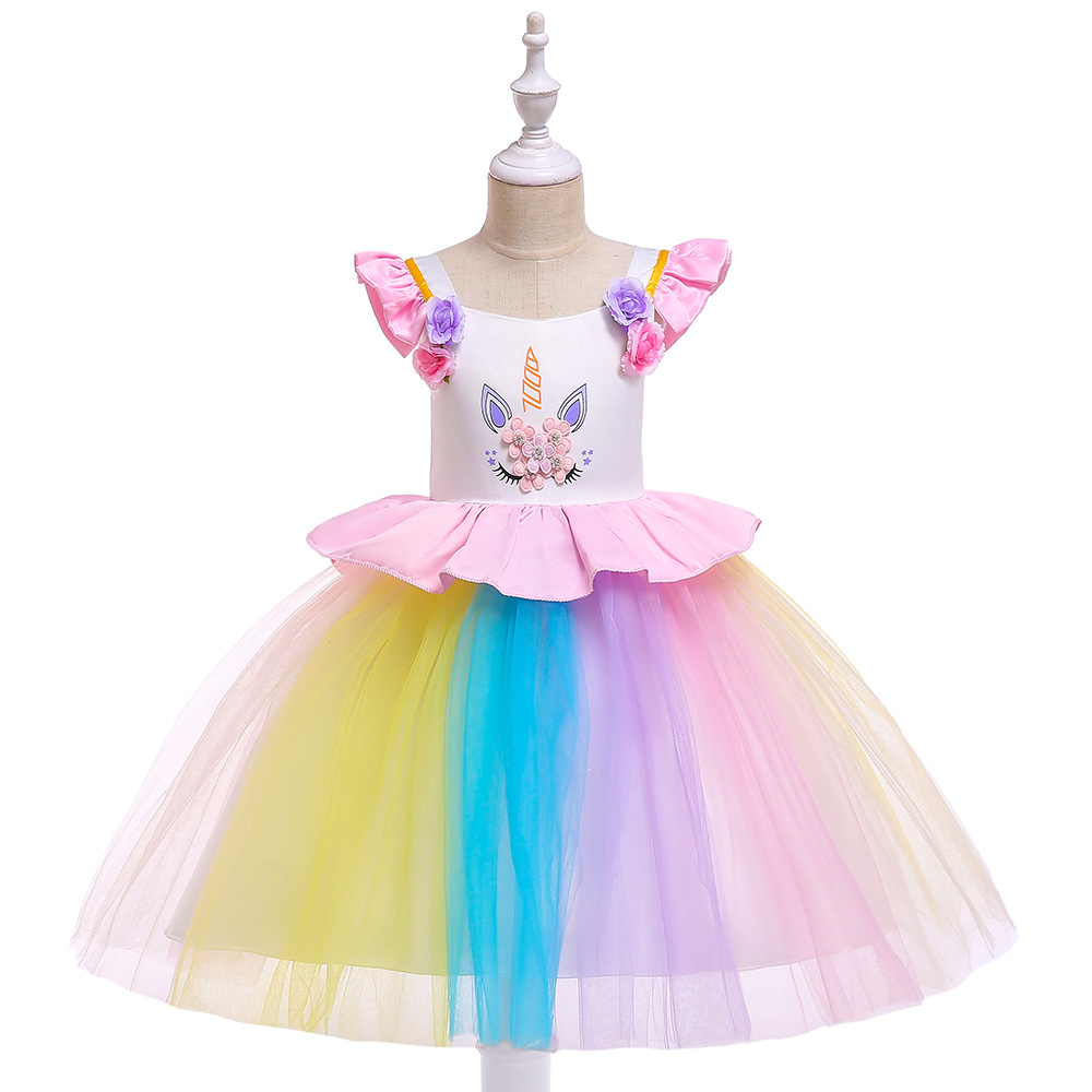 Europe And America Girls Unicorn Children Shirt Handmade Joint Colorful Gauze Princess Dress Party Performance GIRL'S Gown