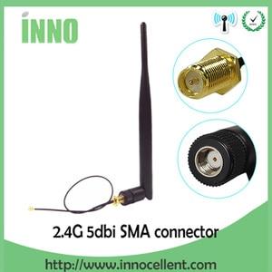 Image 1 - 2.4GHz WiFi אנטנה 5dBi אווירי RP SMA זכר 2.4g antena wi fi antenne wi fi נתב + 21cm PCI u. FL IPX לsma זכר צמת כבל