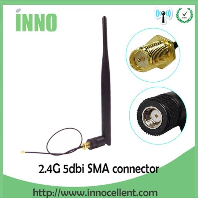 2.4GHz WiFi אנטנה 5dBi אווירי RP SMA זכר 2.4g antena wi fi antenne wi fi נתב + 21cm PCI u. FL IPX לsma זכר צמת כבל