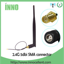 Wi fi антенна 2,4 ГГц, антенна 5dBi, антенна с разъемом «папа», 2,4 ГГц, wi fi антенна, wi fi роутер + 21 см PCI U.FL, кабель IPX SMA «папа»