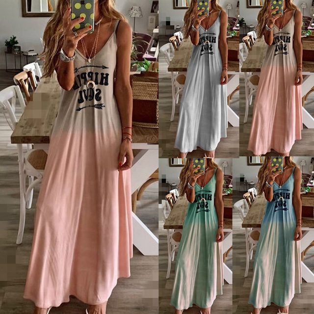 2020 Women Casual Loose Strap Dress Colors Summer Sexy Boho Bow Camis Befree Maxi Dress Plus Sizes Big Large Dresses Robe Femme 4