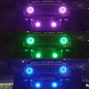 Image 5 - Marlaa RGB 7Inch LED Headlights + 4 Inch 30W Led Fog Lights with RGB Halo Ring DRL For Jeep Wrangler JK LJ CJ Hummer H1 H2