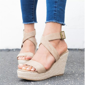 Women Shoes Platform Sandals Women Peep Toe High Wedges Heel Ankle Buckles Sandalia Espadrilles Female Sandals Shoes ankle peep toe high heel newest real photo sandals hot sale side angle wing thin heel white black summer party cut out women