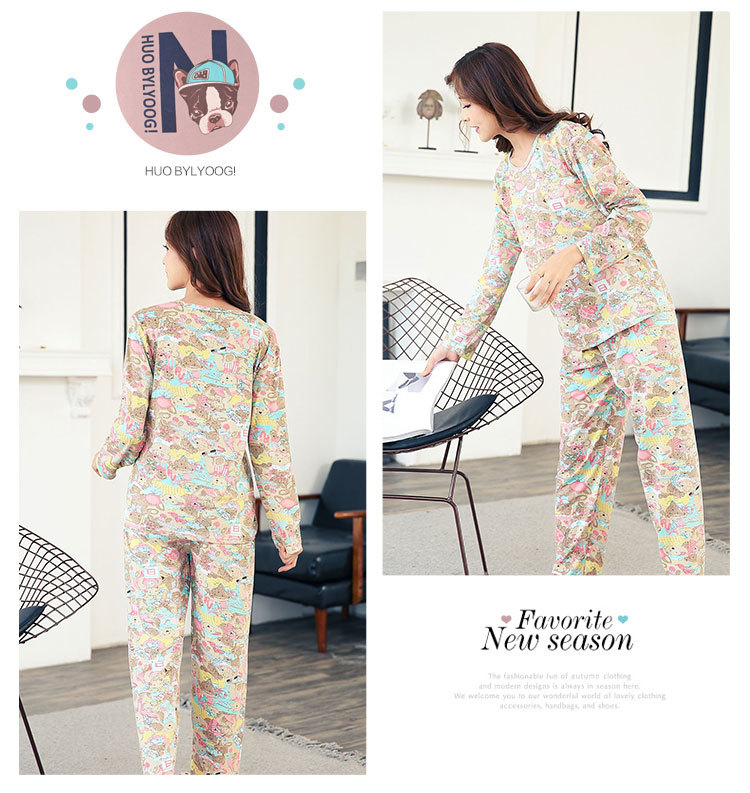 Wholesale Pajamas Sets Spring Autumn 22 Style Thin Carton Generation Women Long Sleepwear Suit Home Women Gift Female Sleepwear 34