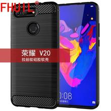Phone Case For Huawei honor v20 Carbon Fiber Style Bumper Shockproof TPU Cases Silicone Cover Mobile