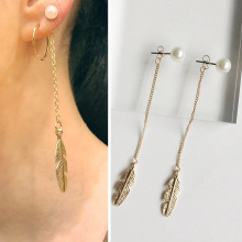 Fashion Long Tassel Dangle Earring For Women Leaf Feather Drop Girls Jewelry Earrings