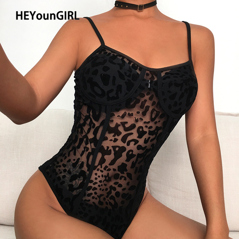 HEYounGIRL Leopard Sexy Transparent Body Women Sleeveless Backless Bodysuit Ladies See Through Black Jumpsuit Romper Summer