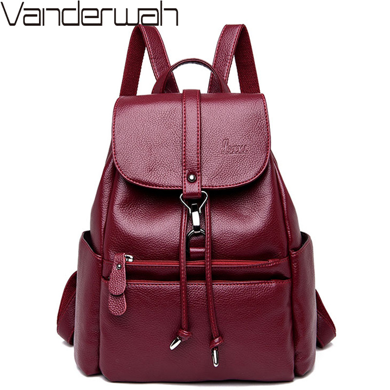 Classic String Women Backpack High Quality Youth Leather School Bags For Teenage Girls Female Bagpack Mochila Sac A Dos Femme