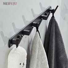 Ganchos de banheiro branco alumínio preto robe gancho de metal cabide ganchos de parede gancho de porta roupas robe gancho chapéu rack multi função