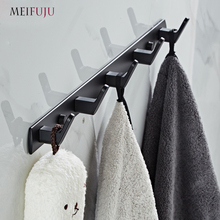 White Bathroom Hooks Aluminium Black Robe Hook  Metal Coat Hooks Wall Hook Door Hanger Clothes Robe Hook Hat Rack Multi function