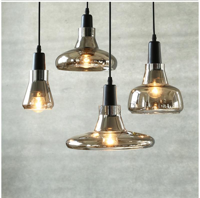 Creative Home Lighting Modern Simple Restaurant Bar Study Living Room Bedroom Smoke Gray Glass Pendent  Lamp