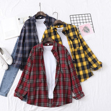 Full Sleeve Autumn Blouses Women Cotton Plaid Turn-down Collar Office Ladies Tops Shirt Fashion Loose Casual Student Long Blusas cotton long shirt fashion plaid turn down collar full sleeve office lady autumn women blouse plus size casual blusas student top