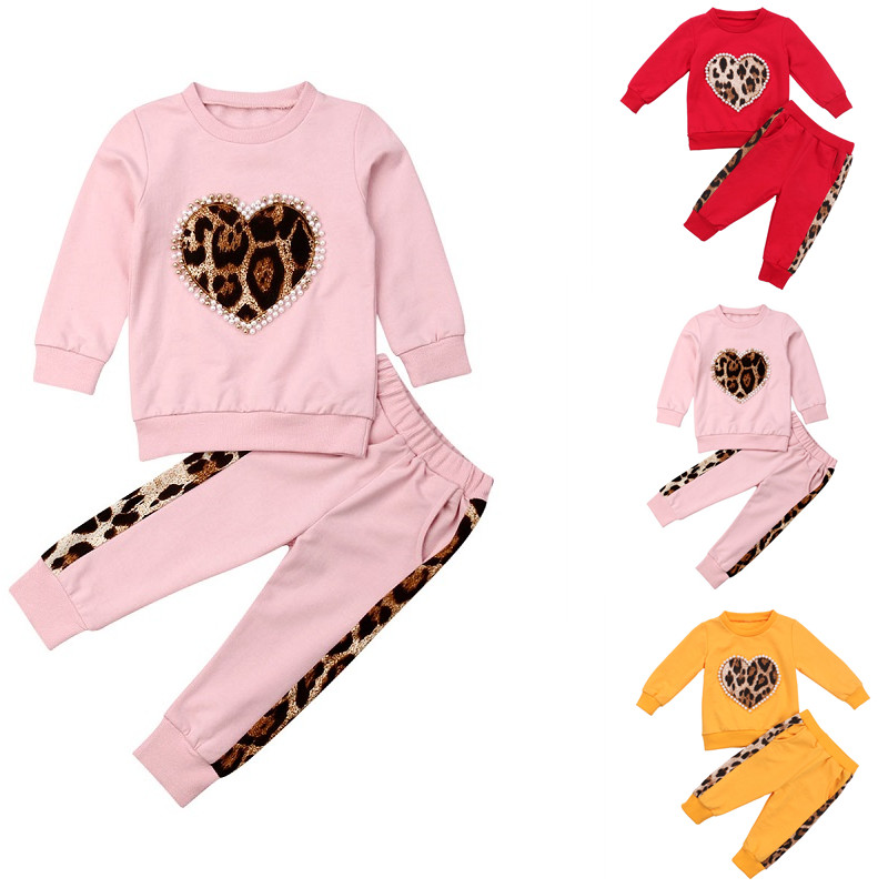 pudcoco Toddler Kid Baby Girl Winter Autumn Clothes Sets Solid Color Long Sleeve Leopard Tops Long Pants Outfit Tracksuit 1 5T|Clothing Sets| - AliExpress