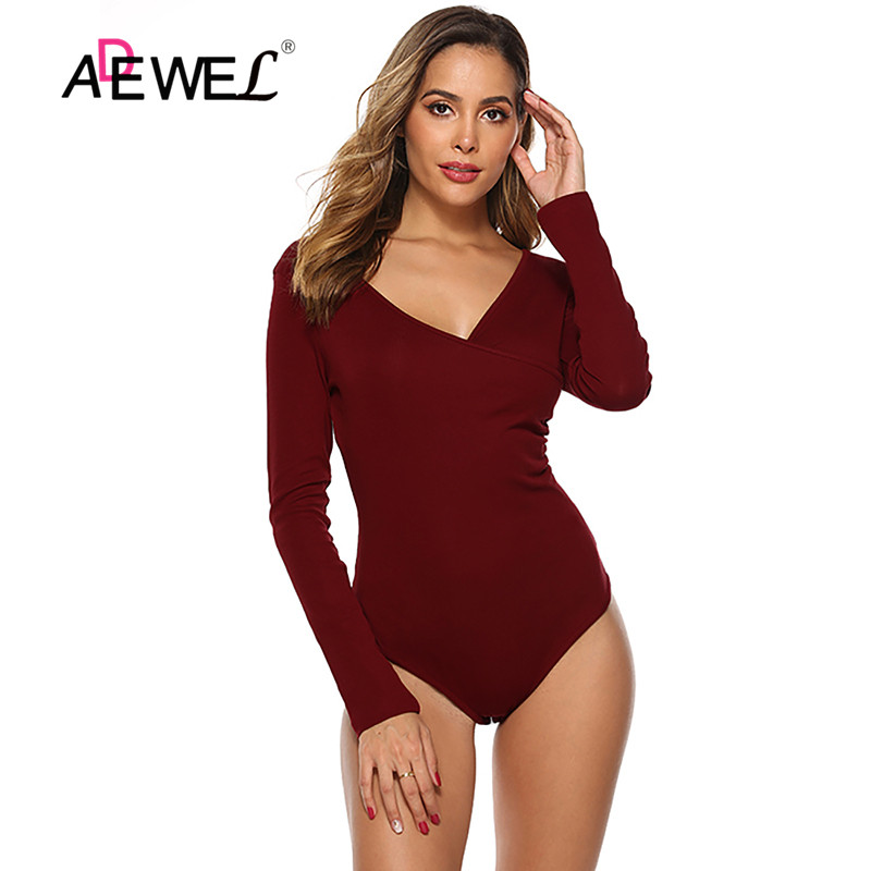 ADEWEL Spring Red Bodycon Black White Bodysuit Sexy Women Rompers Club V-neck Skinny Long Sleeve Jumpsuit Body Suit Tops Overall