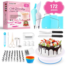172-Piece Cake Turntable Decorating Nozzle Set Cake Tools with Piping Bag TPU Russian Nozzle Reusable Cake Mold Cake Tools Set
