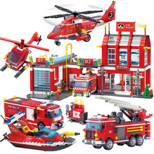 City Police Fire Station Truck Spray Water Gun Firemen Car Legoes Building Blocks Sets Bricks Model Kids Toys Boys Gifts(China)