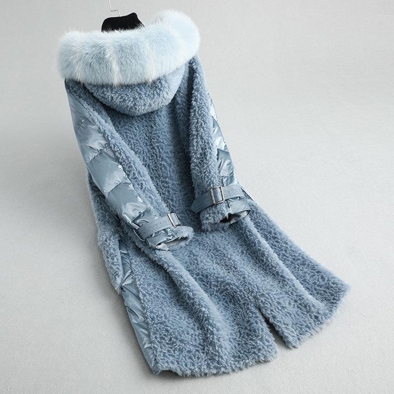 Shearling Sheep Real Fur Coat Female Real Fox Fur Collar Long Down Jacket Winter Jacket Women 100% Wool Coats MY4055 S