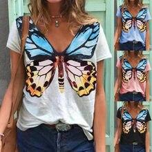 Verão com decote em v manga curta topo borboleta impressão casual camiseta senhoras moda diário atendimento camiseta plus size camisas para mulher