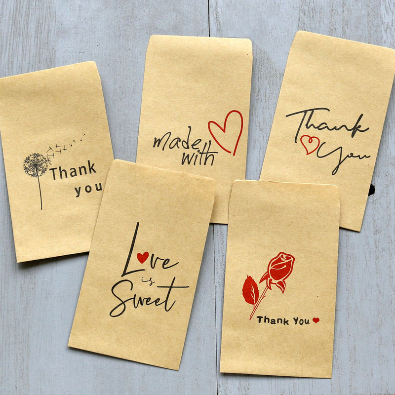 10pcs Mini Kraft Paper Envelope Retro Rose Thank You Wedding Invitation Envelope Greeting Cards Gift Envelope Craft Paper Bags