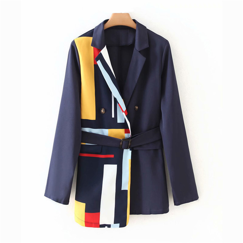 Women Fashion Striped Patchwork Blazer With Belt Long Sleeve Office Lady Blazer Autumn Ladies Streetwear Outwear Coat