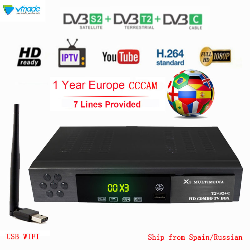 Full HD 1080P Digital Terrestrial Satellite Receiver DVB-T2 DVB S2 DVB C Combo TV Tuner Support Dolby AC3 With USB WIFI Cccam
