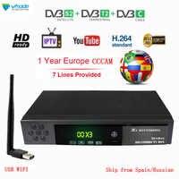 Volle HD 1080P Digitalen Terrestrischen Satellite Empfänger DVB-T2 DVB S2 DVB C Combo TV Tuner Unterstützung Dolby AC3 mit USB WIFI cccam