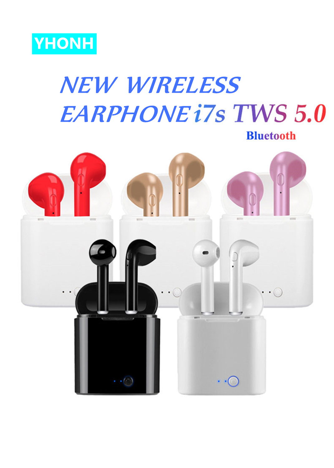 YHONH New I7S TWS 5.0 Bluetooth Earphone Wireless Earphones Portable Invisible Earbud For Iphone All Smart Phone