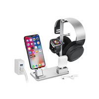 Aluminum alloy 6in1 phone holder mobile phone watch headset charging base stand phoen watch charging socket phone accessories