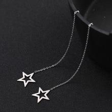 Sipuris Minimalism Korean Star Threader Drop Earrings Women Stainless Steel Line Chain Earring Stars Linear Dangle