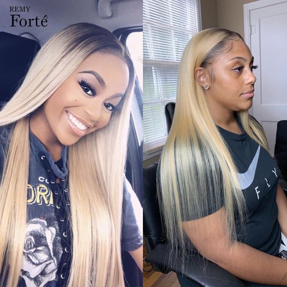 Remy Forte Human Hair Wigs 613 Blonde Lace Front Wig Straight Brazilian Human Hair Wigs For Women Purple Short Bob Women Wigs