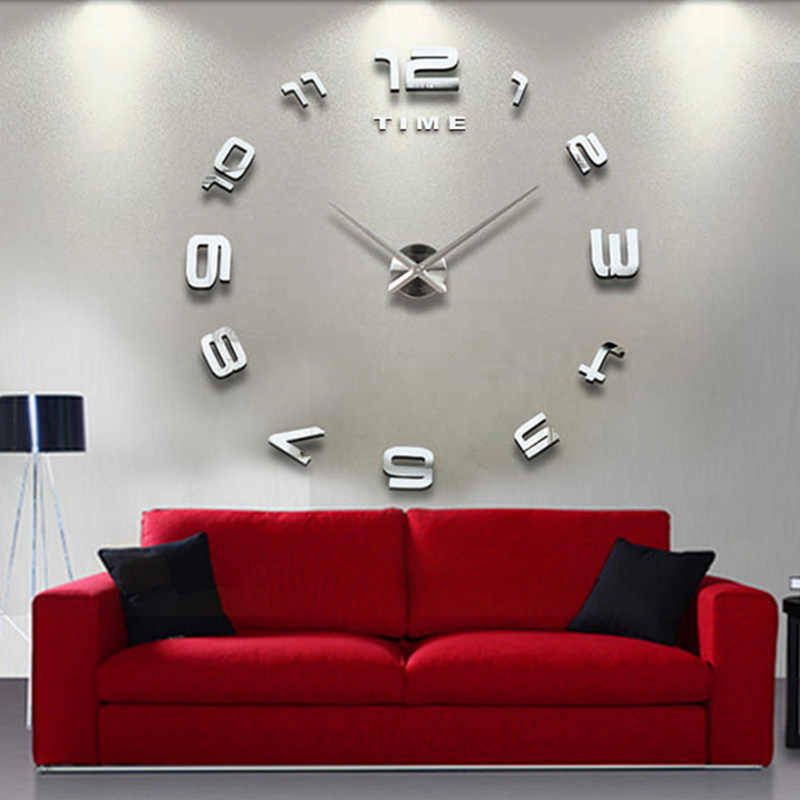 Modern Acrylic Mirror Numbers Wall Sticker Clock Silent DIY Home Decor Parts Use