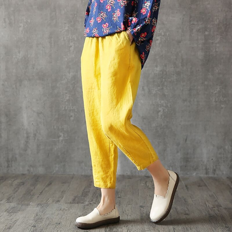 LASPERAL Women Linen Pants Summer Pant Capris Loose Thin Fabric Linen Cotton Pant Solid Color Harem Pants Plus Size Women Pants