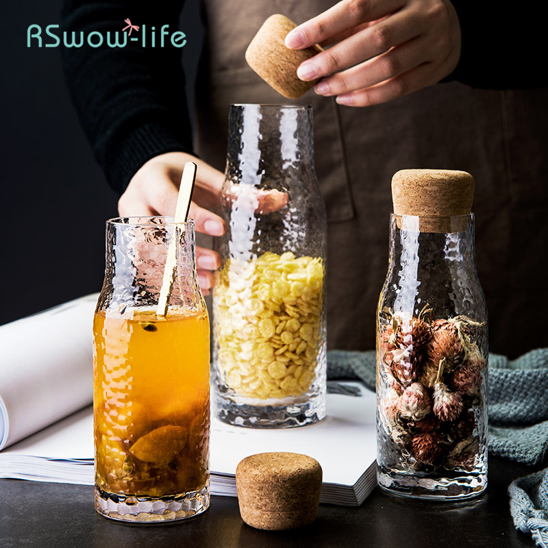 Creative Cork Sealed Glass Storage Bottle Home Kitchen Dried Fruit Miscellaneous Grain Milk Containers Slip-Proof Transparent