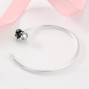 Image 4 - Authentic 100% 925 Sterling Silver twinkle Stars Snake Chain Cubic Zirconia CZ Classic Womens bracelets Bangle DIY Jewelry