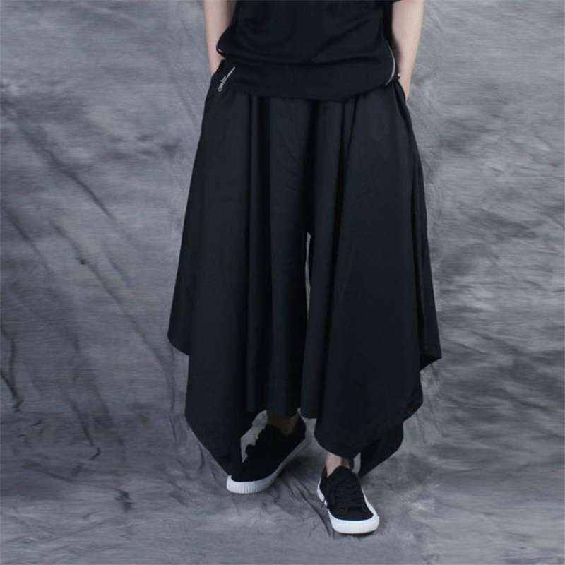 Vintage Men Pants Elastic Casual Baggy Hakama Pants Hip-hop Men Gypsy Cotton Linen Wide-legged Loose Pants Drawstring Hiphop