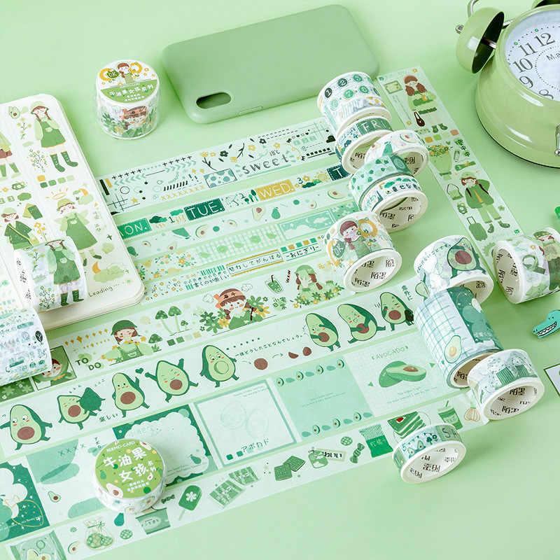 5 יח'\סט אבוקדו ילדה סדרת חמוד Washi קלטת סט ירוק דקורטיבי דבק קלטות DIY רעיונות מדבקת תווית מיסוך קלטת