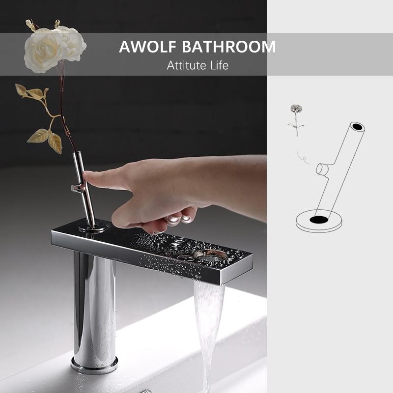 Bathroom Basin Faucet Solid Brass Matte Black Chrome Creative Hot Cold Mixer Tap Deck Mounted Single Handle Sink Faucet ML8092