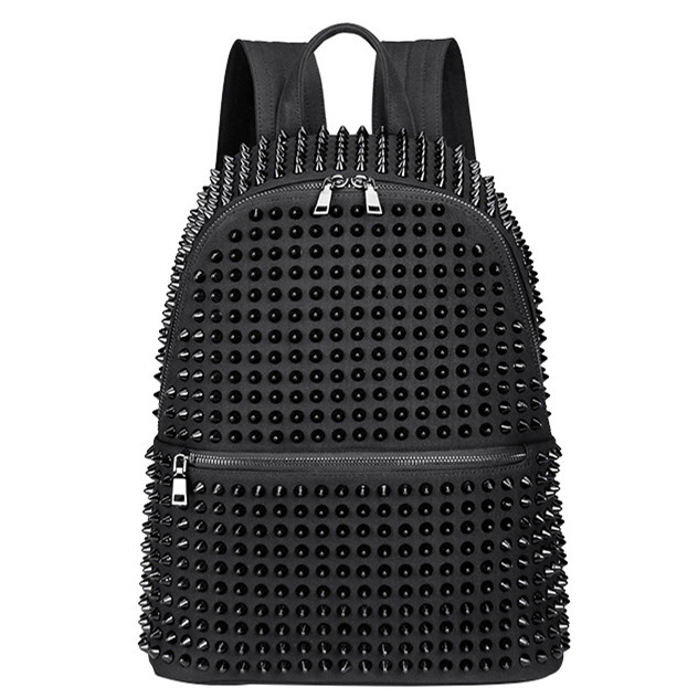 QINRANGUIO Women Backpack Canvas Backpack Women 2019 Fashion Rivet Backpack Female Large Capacity Black Backpack School
